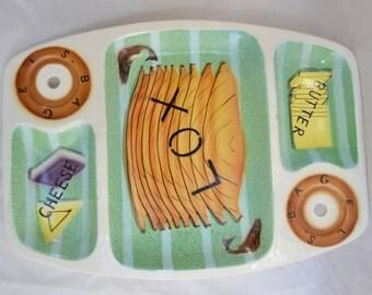 sale Vintage Lefton Lox and Bagel Serving Tray Platter RARE DESIGN Brunch Servingware