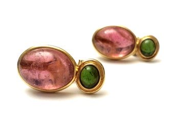 Tourmaline Earrings, 14k Gold Earrings, Vintage Fine Jewelry, Pink and Green Tourmaline and Gold Earrings, Gemstone Earrings Natural Stone