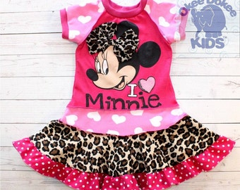 I heart Minnie - a  dress made out of authentic MINNIE MOUSE  tshirt super cool funky recycled upcycled  pieced  size 24 months
