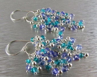 End Of Summer Sale Periwinkle Blue Quartz, Teal Quartz and Sterling Bead Cluster Earrings