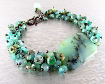 Peruvian Opal With Oxidized Sterling Silver Cluster Bracelet