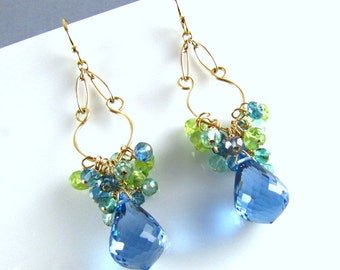 London Blue Topaz With Peridot and Aquamarine Gold Filled Dangle Earrings.