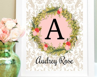 Personalized Baby Print, Nursery Art, Custom Name Print, Kids Room Decor, Child Wall Art, Baby Girl Gift, Girl Room Decor, Baby Girl Nursery