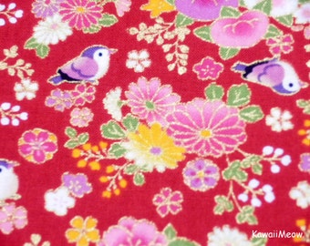 Beautiful Kimono Fabric - Chirp Chirp Sakura on Red- Half Yard (ta160528)