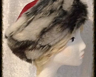 Grey Stone Fox Faux Fur Hat with Merlot Suede Crown