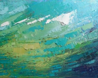 "Abstract Seascape Painting, Contemporary Painting, Textured Blue Green Abstract, 8x16x.75"" Oil"