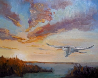 """Impressionist art, Sunset Painting, Small Oil Painting, Flying Heron Painting, 6x8"""" Oil"""