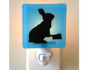 Funny Rabbit Nightlight - Hand Painted Glass Night Light - Bunny Gift