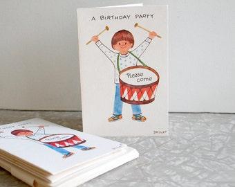 vintage birthday party invitations by fravessi, child kid party invitations, 1960s birthday party invitations, vintage illustration,  10 ten