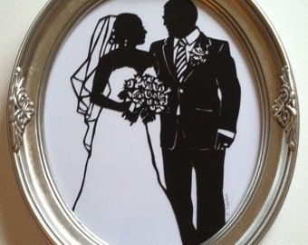 Custom Silhouette First Anniversary Paper Gift in Silver Frame