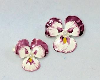 Vintage Hand Painted Enamel Purple Pansy Pin Brooch Set of 2