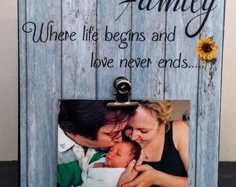 Family Where Life Begins Custom Wood Photograph / Art block / shelf sitter / Wall sign