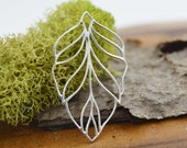 Sterling Silver Large Leaf Pendant 23x38 mm, Sterling Openwork Solid 925 Silver Connector, FPIJS