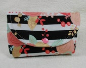 Large Snap Pouch ... Coral and Mint Floral with Metallic Gold