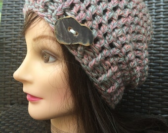 Pink and Grey Crocheted Slouch Hat 7/16