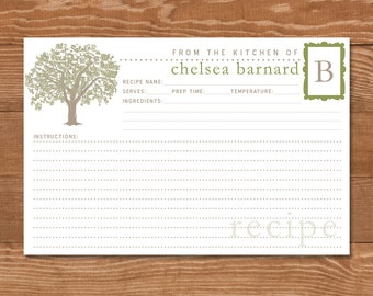 50 Personalized Oak Tree Recipe Cards, 4x6, Monogrammed Initial, Olive Green, Taupe, Christmas Gift