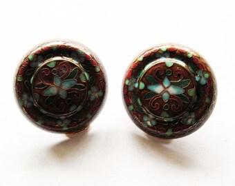 Vintage Cloisonne Enamel  Earrings