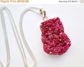 50% OFF SALE Druzy Crystal Necklace Long Druzy Cluster Hot Pink Raspberry Ruby Druzy  Necklace Mineral Jewelry