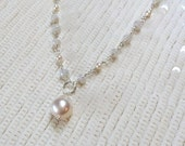 VALENTINES SALE Pearl Bridal Necklace Wire Wrap White Sapphire  Beach Wedding Choker Sterling Silver Rosary Style Sapphire Necklace