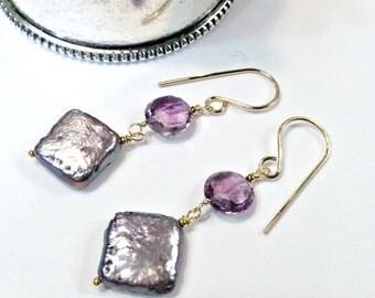 50% SALE Lavender Pearl Earrings Lavender Gem Cluster Earrings Handmade Sterling Silver Square Pearl Earrings