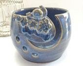 Yarn Bowl Wheel thrown Sculpted Bluebird Knitting Bowl for knitting crochet