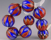 set of 9 rounds in a fantastic red white and blue pattern handmade lampwork glass beads - American Spirit