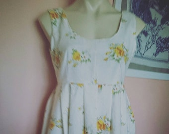 Vintage yellow rose fabric cotton ladies handmade sundress Au size 8