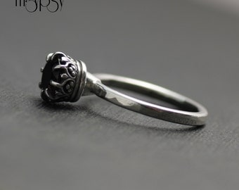 Crown Ring in Sterling Silver Smoky Quartz