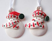 RESERVED FOR LAURA Red and Green Snow Baby Ornaments