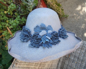 Chambray Panama Straw with Denim Flower Band