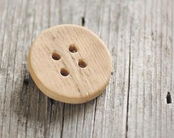 1 Big round button - aged wood