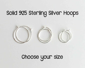 Tiny Hoop Earrings. Solid 925 Sterling Silver Hoops. Silver Hoops. Sterling Silver Hoop Earrings. Choose your Size. One PAIR (2 hoops)