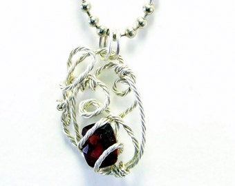 Wire Wrap Garnet Pendant | Wire Wrapped Red Pendant | Sterling Silver Wrapped Garnet | January Birthstone Pendant | Faceted Garnet Pendant
