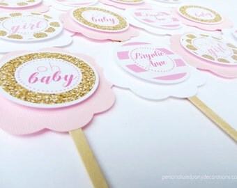 Pink & Gold Decorations Baby Shower, Girl Baby Shower Cupcake Toppers, Baby Shower Decorations, Kate Spade Inspired Baby Shower