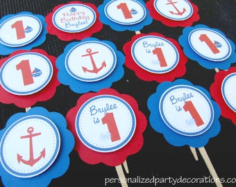 Nautical Birthday Decorations, Boy Birthday Decorations, Birthday Decorations, Nautical Birthday CUPCAKE TOPPERS, You Choose The Colors