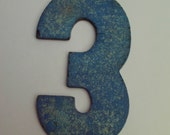 small Lucky Number 3 with blue paint 1/4 inch rubber
