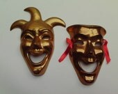 2 Brass Masks Jester Comedy Mardi Gras Made in India Wall Hangings