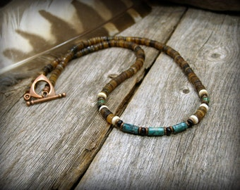 mens necklace, turquoise necklace, Surfer Necklace, mens jewelry, Native American, Guys Fashion, Southwestern Jewelry, heishi necklace, mens