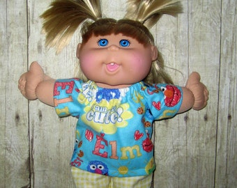 """Cabbage Patch Doll Clothes Elmo Print Pajama Set  14""""  or 15"""" Doll Boy or Girl Doll Adoptimals"""