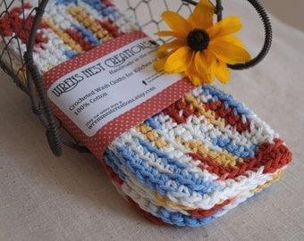 Crochet Washcloths, Dishcloths, Cotton -  Fall Tones - Red Gold Blue Crocheted 3 Piece Set