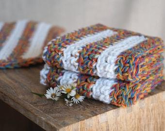 Crochet Washcloths, Dishcloths, Cotton -  Fall Twist Stripe- Red Yellow Blue Green Crocheted 3 Piece Set