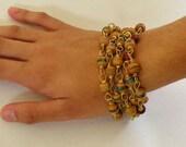 SALE Prayer Beads, Tibetan Inlaid, Prayer Bead Necklace, Wrapped Bracelet, Vintage Prayer Beads, Tibetan Wood Beads, Inlaid Beads, Red Glass