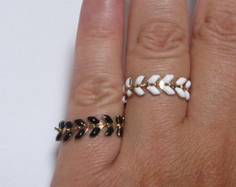 Black or white enameled chain ring, best friend ring, stacking ring, knuckle ring