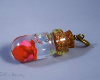 Anatomical Heart Glass Bottle Charm Necklace