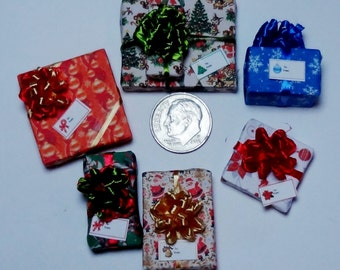 Six Assorted Miniature Christmas Packages set XP124