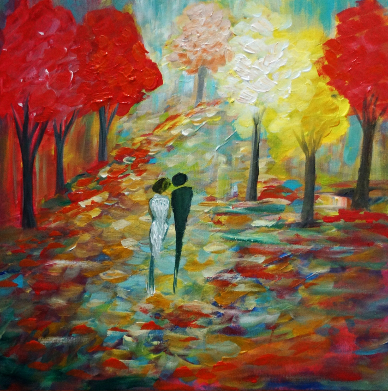 Fall Landscape Romance Couple Painting Original Oil By