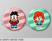 "A Goofy Movie, Max and Roxanne Pixel Art 1.5"" Pin Buttons or Magnets"