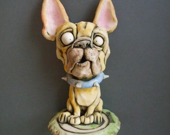 French Bulldog Sitting on Rug Ceramic Wall or Tabletop Sculpture