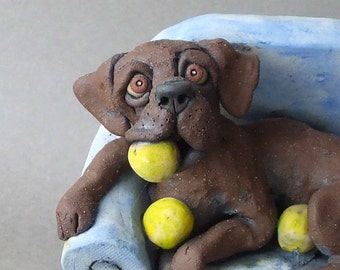 Chocolate Labrador Retriever on Chair Sculpture - With Tennis Balls