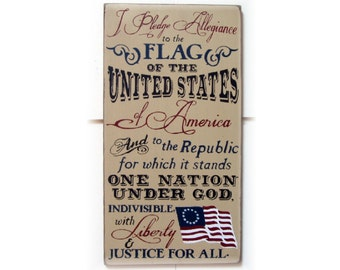 I pledge allegiance to the flag of the United States Of America... wood typography sign